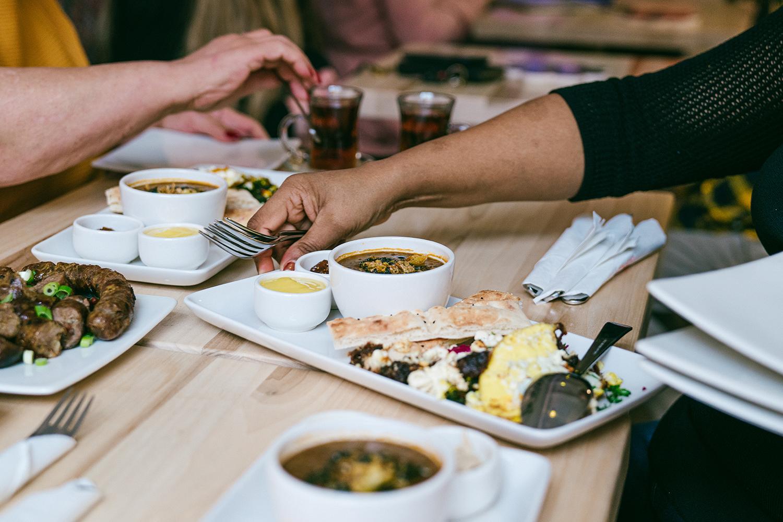 A group enjoys brunch at Botte Chai Bar in Saskatoon Saskatchewan.