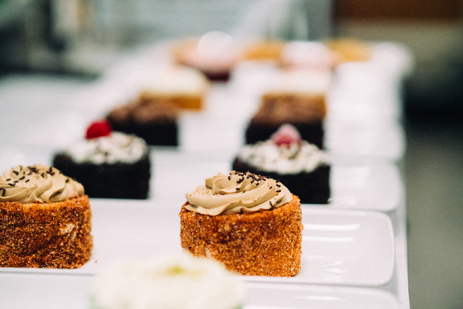 A row of finely made deserts are showcased at Botte Chai Bar in Saskatoon Saskatchewan